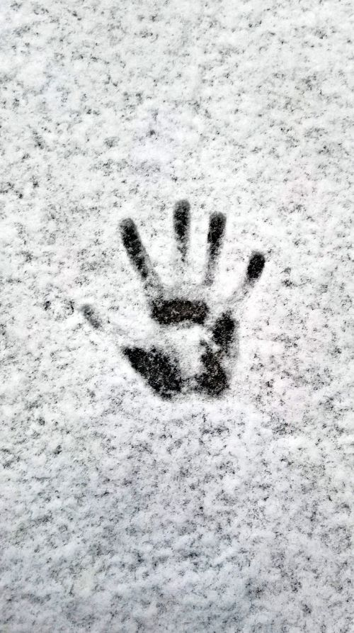winter snow handprint