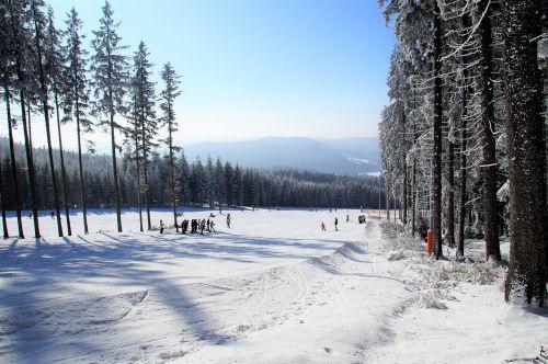 winter snow the ski slope