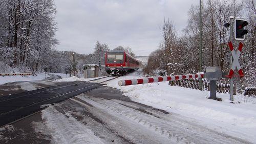 winter railway semi-barrier