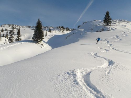 winter deep snow backcountry skiiing