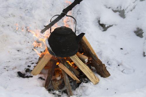 winter fire campfire