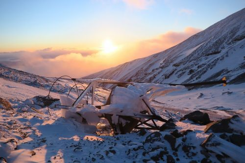 winter mountains sunset