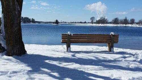 winter bench park