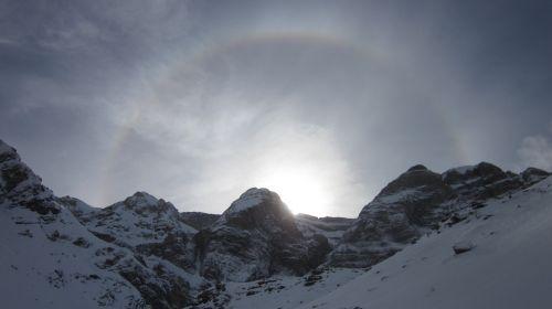 winter mountain snowshoeing