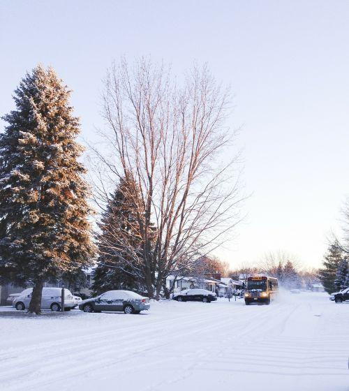 winter bus road