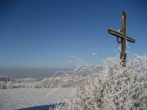 winter cross hoarfrost