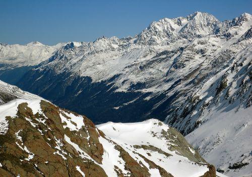 winter the alps rocks
