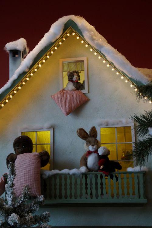 winter home illuminated