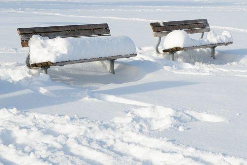 winter snow bench