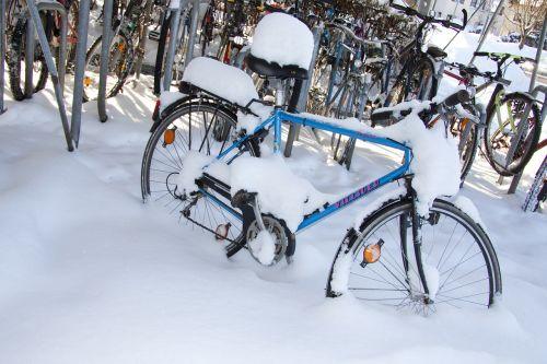 winter bike snowed in