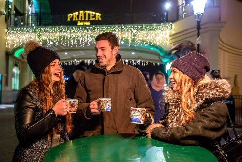 winter market at the prater vienna mulled wine