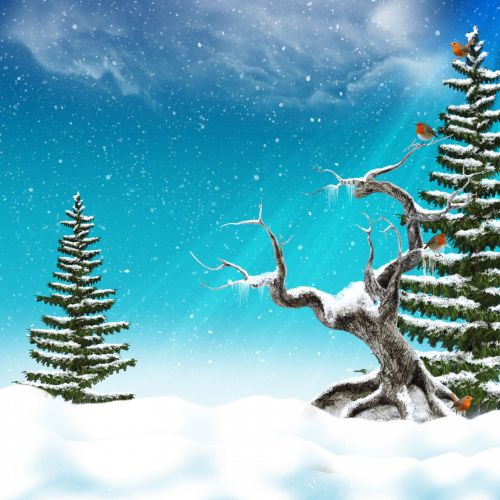 Winter Scenery Background Sheet