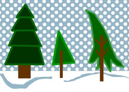 žiema, miškai, sniegas, scena, medžiai, klipas, menas, žiemos miško sniego scena