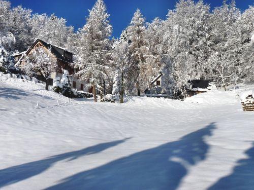 winterlandschft lonely house atmosphere