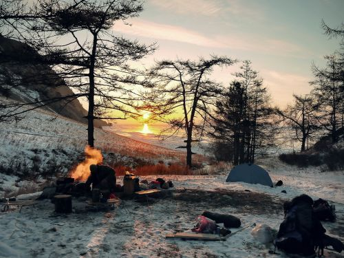 wintry camping adventure