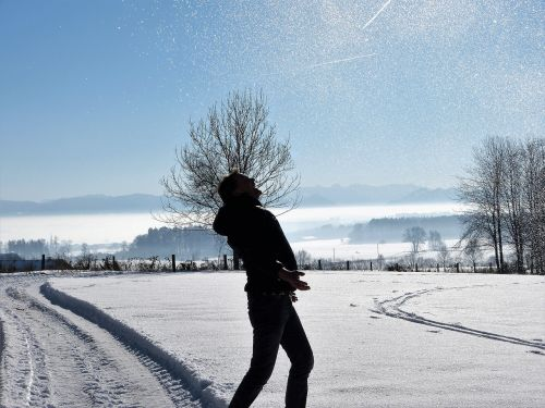 wintry man snow