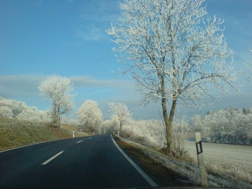 wintry road roadway