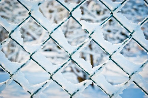 wire mesh fence fence snow