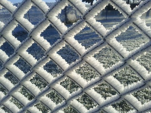 wire mesh fence frost ice