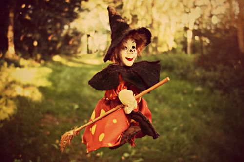 witch broom witch hat