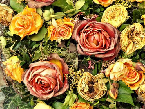 withered bouquet of flowers roses