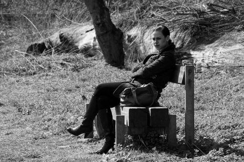 woman bank sit