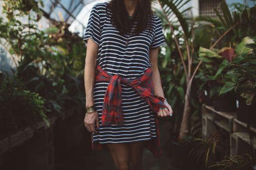 woman girl stripped dress
