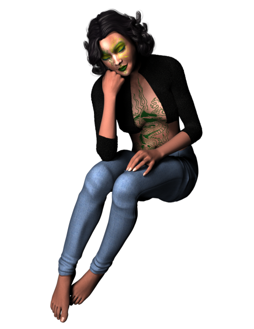 woman sitting dark