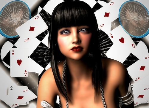 woman cards gambling