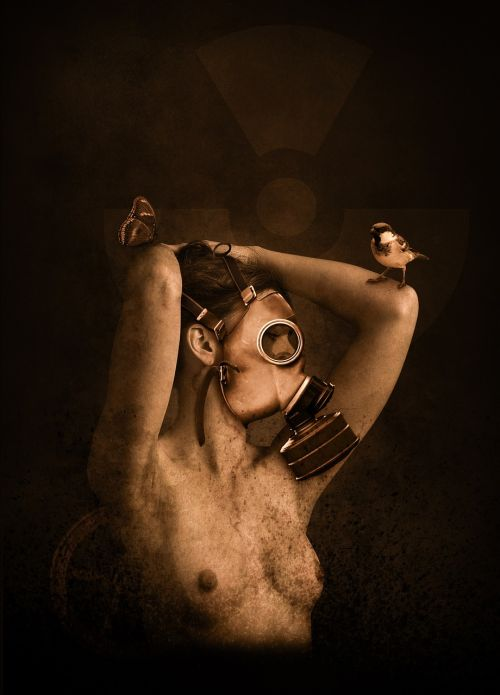 woman gas mask nuclear