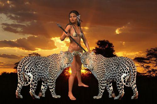 woman tiger amazone