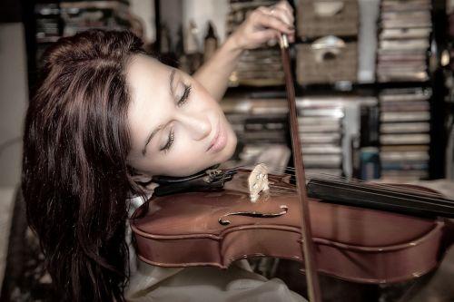woman beautiful violin