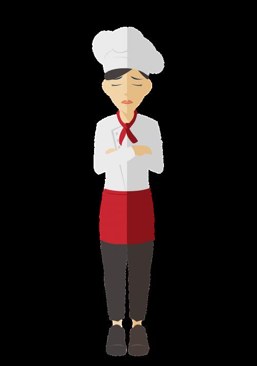 chef woman upset