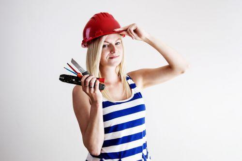 woman helmet work