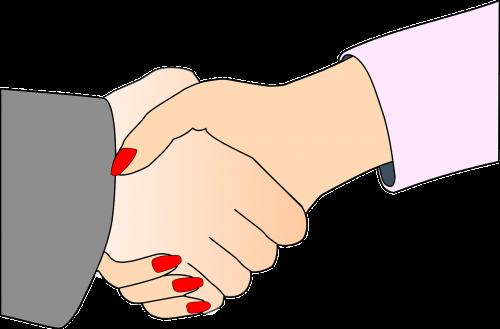 woman partners handshake