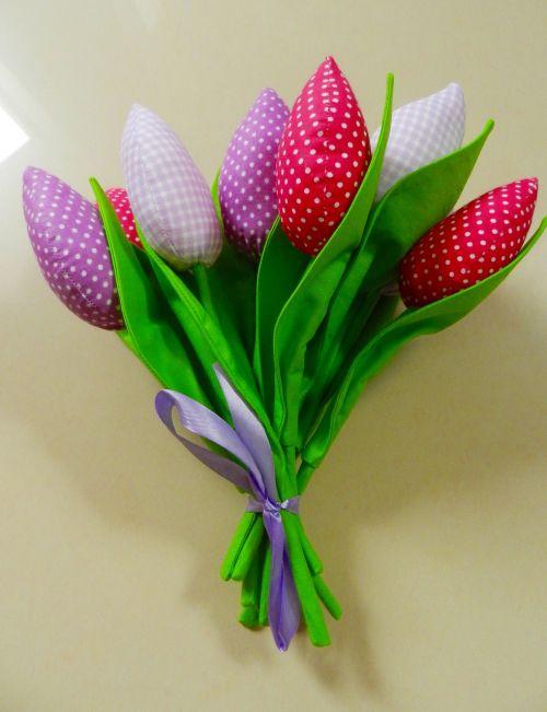 woman tulips handicraft