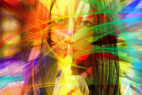 woman face particles