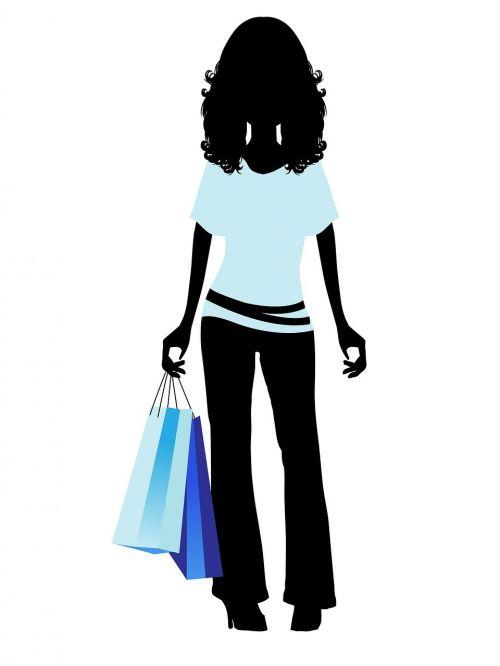moteris,mergaitė,Moteris,Lady,jaunas,madinga,mada,madinga,apsipirkimas,pirkinių maišeliai,juoda,siluetas,mėlynas,figūra,kontūrai,menas,balta,fonas