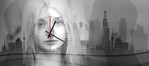 woman face clock