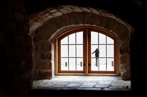 woman attic snow