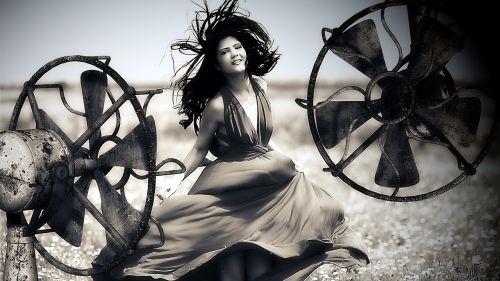 woman wind hair