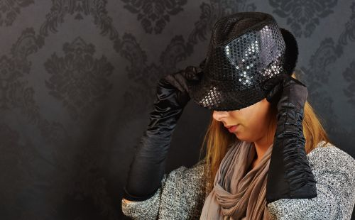 woman hat sequins