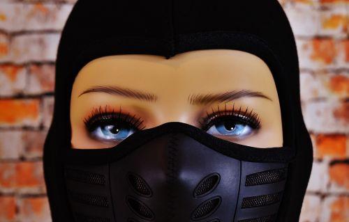 woman ski mask eyes