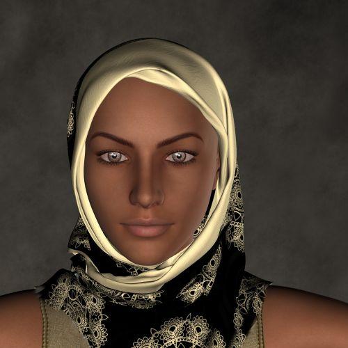 woman headscarf face