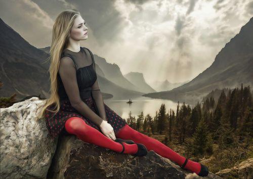 woman,female,beauty,young,portrait,fantasy,fantasy portrait,sky,grey sky,mountains,water,trees,forest,rocks