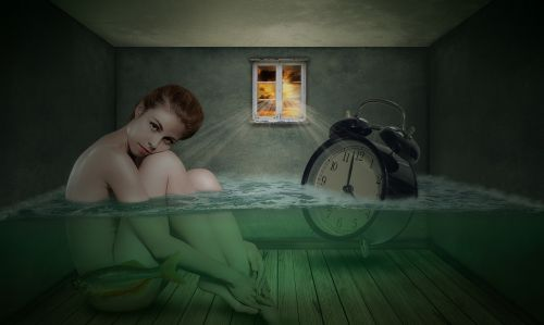 woman room clock