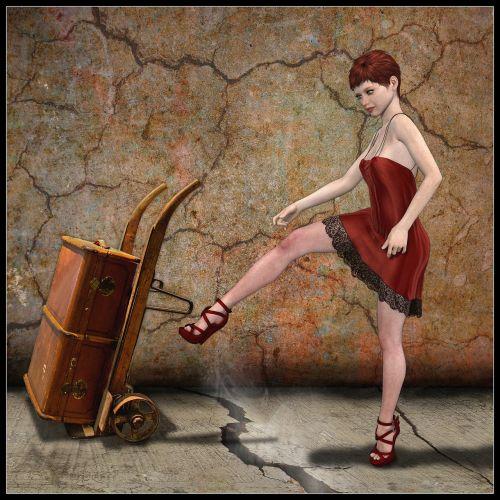 woman transport cart red dress