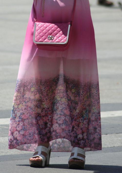 woman pink handbag