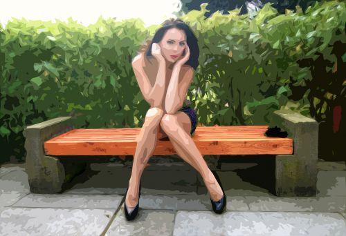 woman view bench