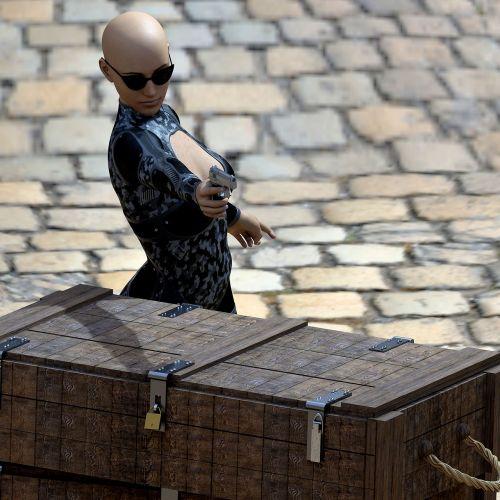 woman box pistol